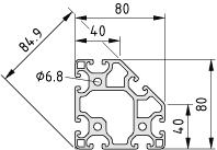 Profil 8 80x80-45° lekki, kolor naturalny