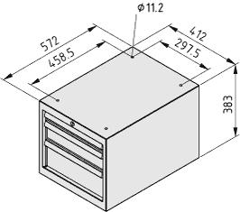 Boks szufladowy S3 H383, kolor szary, zbliż. do RAL 7042