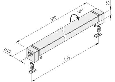 Lampa maszynowa LED 18W 40x40x590
