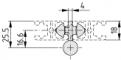 Zawias do drzwi składanych 8 Al do profilu zaciskowego 8 32x18